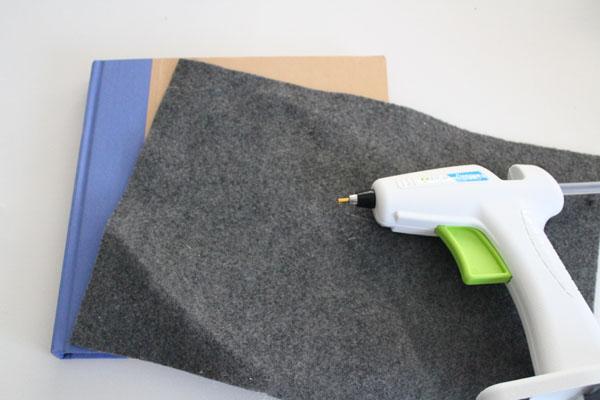 cut felt to width of notebook